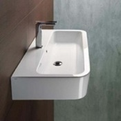 Bathroom Sink Curved Rectangular White Ceramic Wall Mounted or Vessel Bathroom Sink GSI 694011