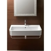 Bathroom Sink Curved Rectangular White Ceramic Wall Mounted or Vessel Bathroom Sink GSI 694411