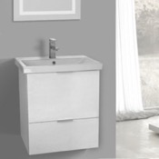 Bathroom Vanity 24 Inch Wall Mount Sherwood White Vanity Cabinet With Fitted Sink ARCOM ME02