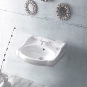 Bathroom Sink Classic-Style White Ceramic Wall Mounted Sink CeraStyle 030200-U