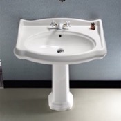 Bathroom Sink Classic-Style White Ceramic Pedestal Sink CeraStyle 030300-PED