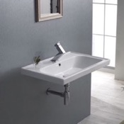 Bathroom Sink Rectangle White Ceramic Wall Mounted or Drop In Sink CeraStyle 031000-U