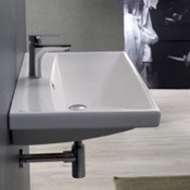 Bathroom Sink Rectangle White Ceramic Wall Mounted or Drop In Sink CeraStyle 032000-U