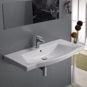 Bathroom Sink Rectangle White Ceramic Wall Mounted or Drop In Sink CeraStyle 040500-U
