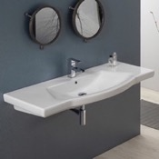 Bathroom Sink Rectangle White Ceramic Wall Mounted or Drop In Sink CeraStyle 040700-U