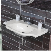 Bathroom Sink Rectangular White Ceramic Wall Mounted or Drop In Sink CeraStyle 081000-U