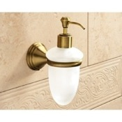 Soap Dispenser Wall Mounted Frosted Glass Soap Dispenser With Bronze Mounting Gedy 7581-44