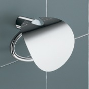 Toilet Paper Holder White and Chrome Toilet Paper Holder with Cover Gedy 4625-02