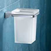 Toothbrush Holder Wall Mounted Square Frosted Glass Toothbrush Holder With Chrome Mounting Gedy 5710-13