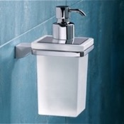 Soap Dispenser Wall Mounted Square Frosted Glass Soap Dispenser With Chrome Mounting Gedy 5781-13