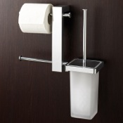 Bathroom Butler Wall Mount Chrome Rack With Tissue Holder and Toilet Brush Gedy 7640-13