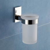 Toothbrush Holder Wall Mounted Frosted Glass Toothbrush Holder With Chrome Mounting Gedy 7810-13