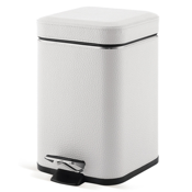 Waste Basket Square White Faux Leather Waste Bin With Pedal Gedy 2209-02