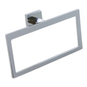 Towel Ring Modern Rectangular Chromed Brass and Cromall Towel Ring Gedy A070-13