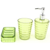 Bathroom Accessory Set Green 3 Piece Accessory Set in Thermoplastic Resins Gedy GL200-04