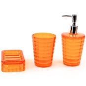 Bathroom Accessory Set Orange 3 Piece Accessory Set in Thermoplastic Resins Gedy GL200-67