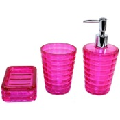 Bathroom Accessory Set Thermoplastic Resins 3 Piece Accessory Set in Pink Gedy GL200-76