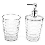Bathroom Accessory Set Transparent Toothbrush Holder and Soap Dispenser Accessory Set Gedy GL500-00