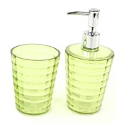 Bathroom Accessory Set Green Toothbrush Holder and Soap Dispenser Accessory Set Gedy GL500-04