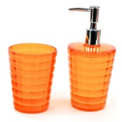 Bathroom Accessory Set Orange Tumbler and Soap Dispenser Accessory Set Gedy GL500-67