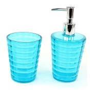 Bathroom Accessory Set Turquoise Toothbrush Holder and Soap Dispenser Accessory Set Gedy GL500-92
