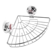 Shower Basket Suction Cup Chrome Single Basket Rounded Triangle Shower Basket Gedy HO80-13