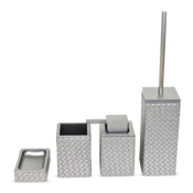 Bathroom Accessory Set Marrakech Old Silver Faux Leather Thermoplastic Resins Accessory Set Gedy MK100-77