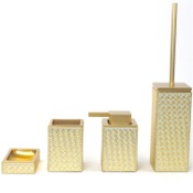Bathroom Accessory Set Marrakech Gold Faux Leather Thermoplastic Resins Accessory Set Gedy MK100-87