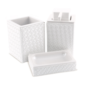 Bathroom Accessory Set Marrakech Pearl White Faux Leather Thermoplastic Resins Accessory Set Gedy MK200-42