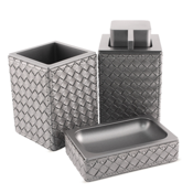 Bathroom Accessory Set Marrakech Old Silver Faux Leather Thermoplastic Resins Accessory Set Gedy MK200-77