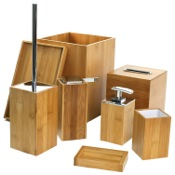 Bathroom Accessory Set Wooden 8 Piece Bamboo Bathroom Accessory Set Gedy PO8001-35