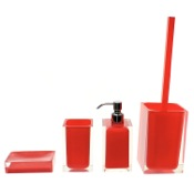 Bathroom Accessory Set Red Accessory Set of Thermoplastic Resins Gedy RA100-06