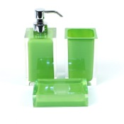 Bathroom Accessory Set Green Accessory Set of Thermoplastic Resins with 3 Pieces Gedy RA500-04