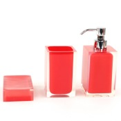 Bathroom Accessory Set 3 Piece Red Accessory Set of Thermoplastic Resins Gedy RA500-06