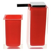 Bathroom Accessory Set Red Two Pc. Accessory Set Made With Thermoplastic Resins Gedy RA680-06
