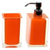 Bathroom Accessory Set Orange 2 Pc. Accessory Set Made With Thermoplastic Resins Gedy RA681-67