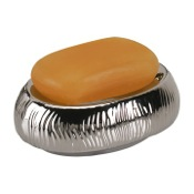 Soap Dish Round Silver or Gold Pottery Soap Holder Gedy JA11