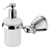 Soap Dispenser Frosted Glass Soap Dispenser with Polished Chrome Wall Mount and Hand Pump Gedy LI81-13