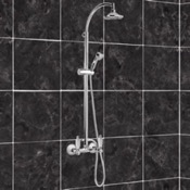 Exposed Pipe Shower Chrome Shower With Sliding Rail Column and Diverter With Hand Shower Remer LR37US