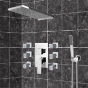 Shower Faucet Chrome Shower System with Rain Shower Head, Hand Shower, and Body Sprays Remer S22