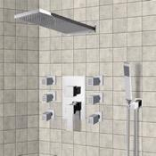 Shower Faucet Chrome Shower System with Rain Shower Head, Hand Shower, and Body Sprays Remer S23