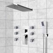 Shower Faucet Chrome Shower System with Rain Shower Head, Hand Shower, and Body Sprays Remer S24