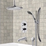Tub and Shower Faucet Chrome Tub and Shower System with 9
