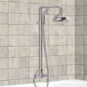 Exposed Pipe Shower Wall Mounted Classic Shower Faucet With Rainhead And Hand Shower Set Fima S5085/2