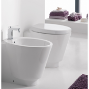 Toilet Contemporary Round White Ceramic Floor Toilet Scarabeo 2008