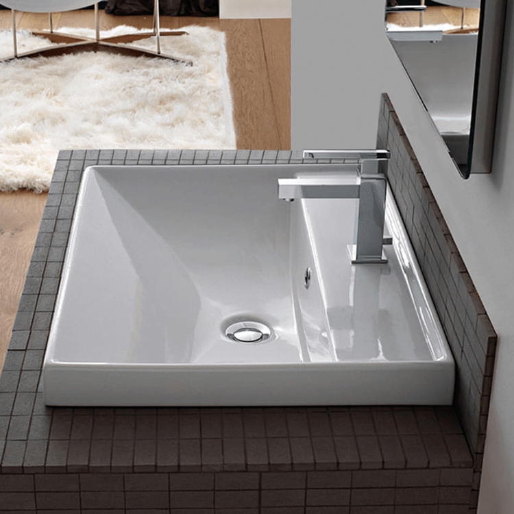 Bathroom Sink Square White Ceramic Drop In or Wall Mounted Bathroom Sink Scarabeo 3004
