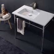 Bathroom Sink Rectangular Ceramic Console Sink and Polished Chrome Stand Scarabeo 5211-CON
