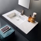Bathroom Sink Sleek Rectangular Ceramic Wall Mounted With Counter Space Scarabeo 5211