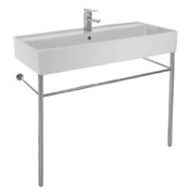 Bathroom Sink Large Rectangular Ceramic Console Sink and Polished Chrome Stand Scarabeo 8031/R-100A-CON