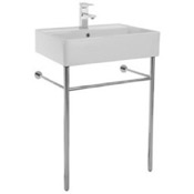 Bathroom Sink Rectangular Ceramic Console Sink and Polished Chrome Stand Scarabeo 8031/R-60-CON